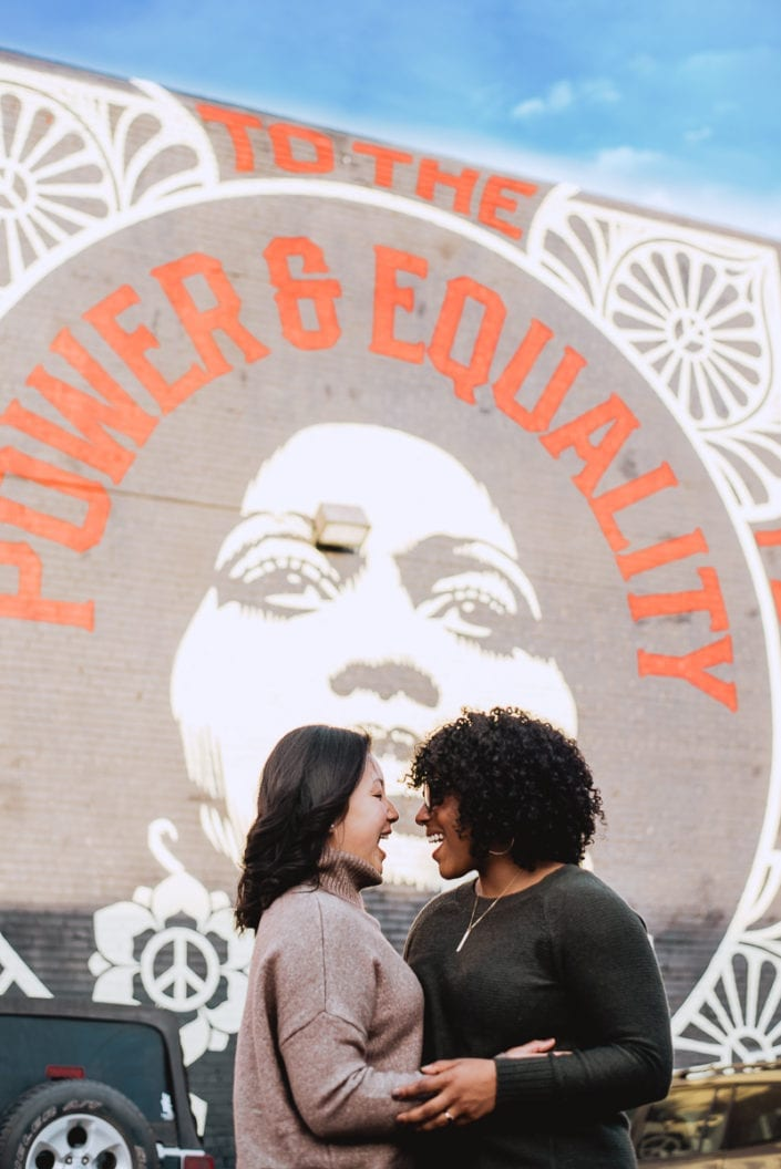 Same sex engagement photo session in downtown RiNo Denver   Colorado LGBTQ friendly photographer