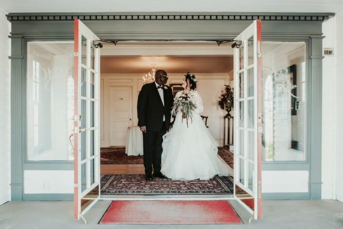 Wedding Ceremony Bride with Dad | Denver Colorado Elopement Photographer