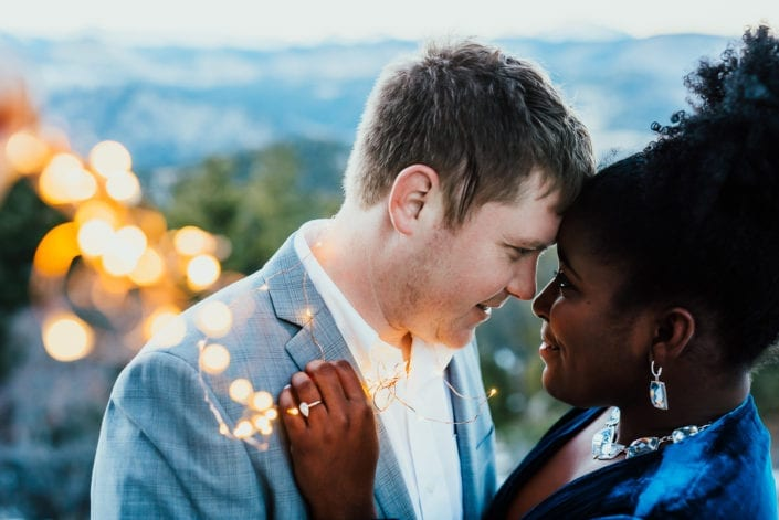 Romantic Fairy Lights Mountain Engagement Picture at Sunset Dusk | Denver & Boulder Elopement Photographer