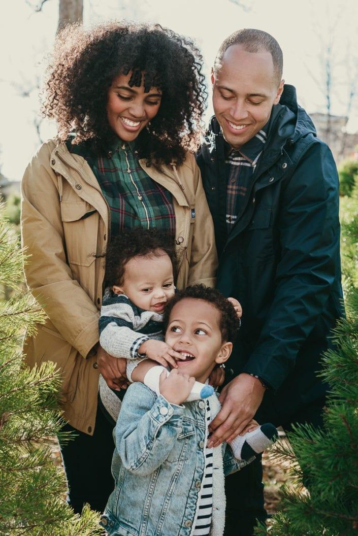 Family Christmas tree photo session in Denver | Colorado Lifestyle Photographer