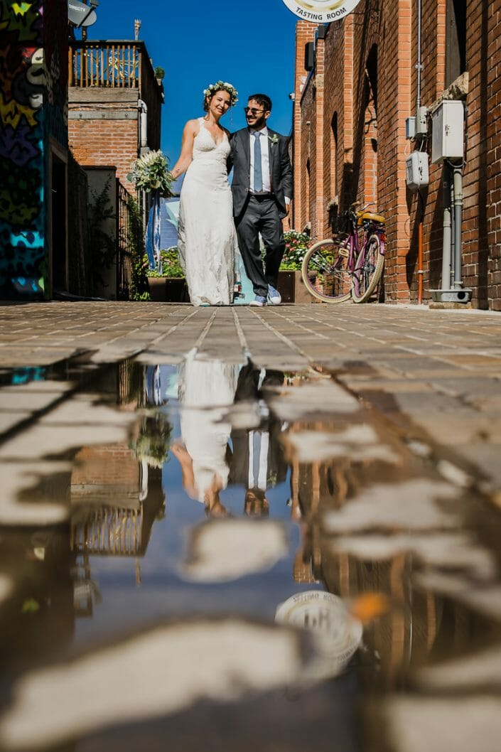 Urban Couple Reflection Portraits Wedding Photo | Fort Collins Colorado Elopement Photographer