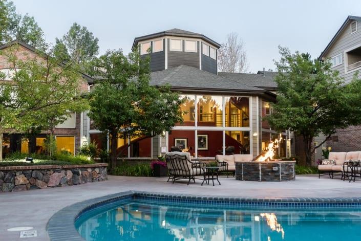 Backyard Pool with Fireplace Photo | Colorado Real Estate Photographer
