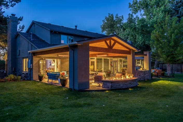 Nighttime Covered Patio with Fireplace Photo | Colorado Real Estate Photographer