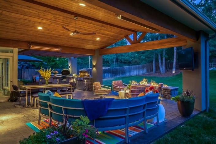 Nighttime Covered Patio Photo | Colorado Real Estate Photographer