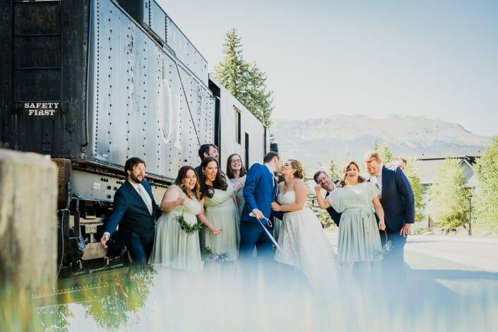 Romantic Mountain Wedding Bridal Party   Denver Colorado Elopement Photographer