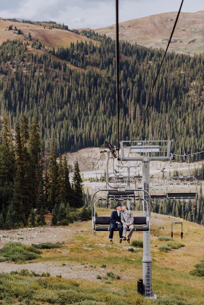 Mountain Chairlift Summer Wedding | Colorado Elopement Photographer