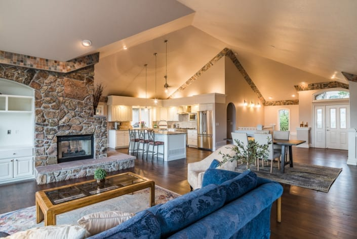 Open Living Room and Kitchen Photo | Colorado Real Estate Photographer