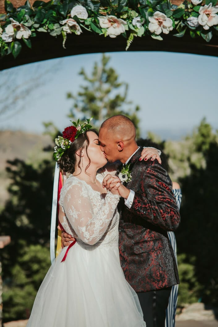 Wedding Ceremony First Kiss | Denver Colorado Elopement Photographer