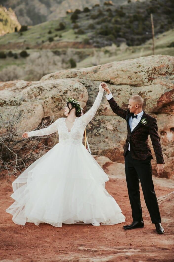 Wedding Couple Romantic Dancing Photo | Denver Colorado Elopement Photographer