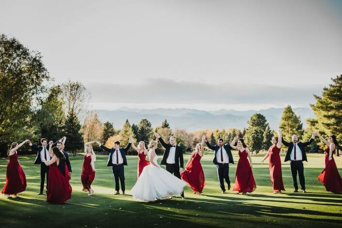 Wedding Party Photos on Golf Course | Boulder Colorado Elopement Photographer