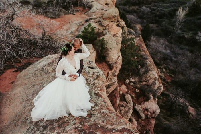 Wedding Couple Romantic Photo on Red Rocks | Denver Colorado Elopement Photographer