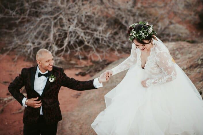Wedding Bride and Groom Candid | Denver Colorado Elopement Photographer