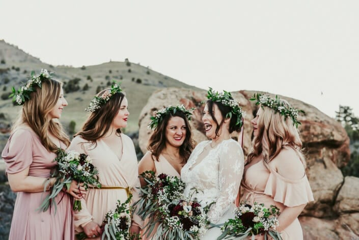 Wedding Bride with Bridesmaids Candid | Denver Colorado Elopement Photographer