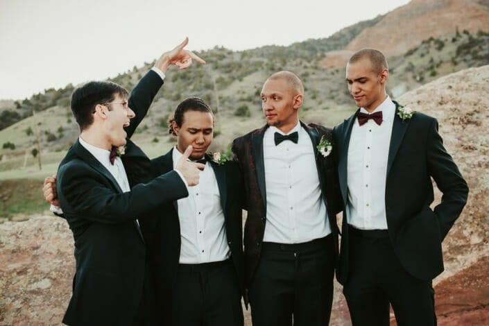 Wedding Groom with Grromsmen Photo | Denver Colorado Elopement Photographer
