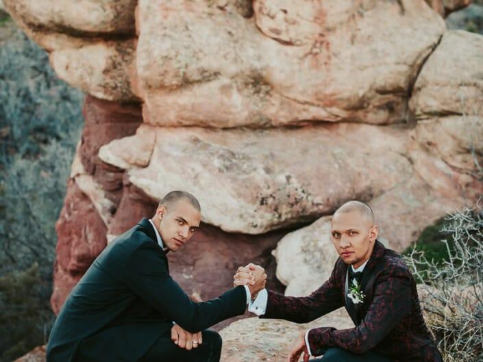 Wedding Groom with Groomsman | Denver Colorado Elopement Photographer