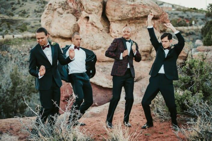 Wedding Groom with Groomsmen Dancing | Denver Colorado Elopement Photographer