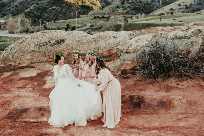 Wedding Bride with Bridesmaids | Denver Colorado Elopement Photographer