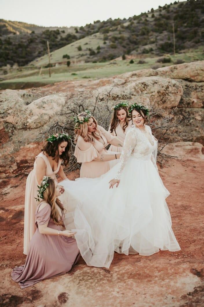 Wedding Bride with Bridemaids | Denver Colorado Elopement Photographer