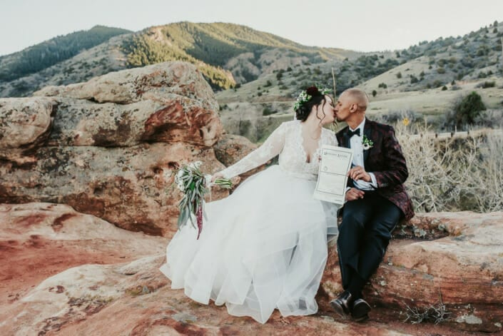 Wedding Marriage License Signed with Couple Photo | Denver Colorado Elopement Photographer