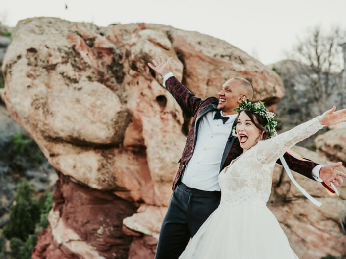 Wedding Couple Excited Photo| Denver Colorado Elopement Photographer