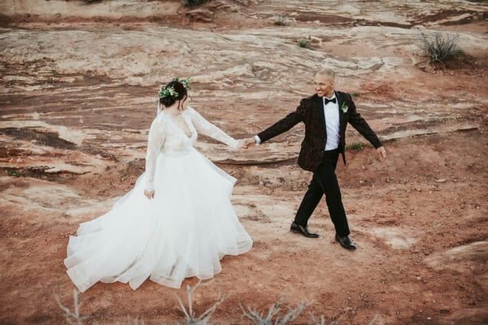 Wedding Couple on Red Rocks Photo| Denver Colorado Elopement Photographer