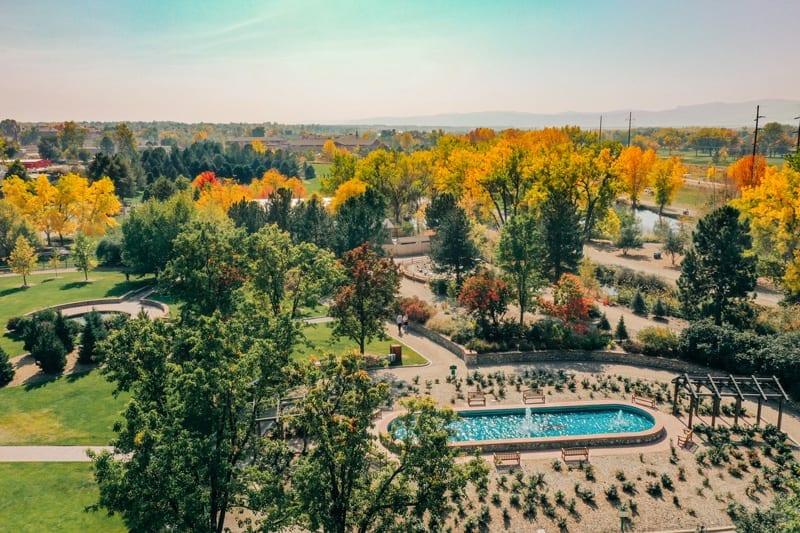 Aerial View of Rose Garden   Hudson Gardens and Event Center   Littleton Colorado