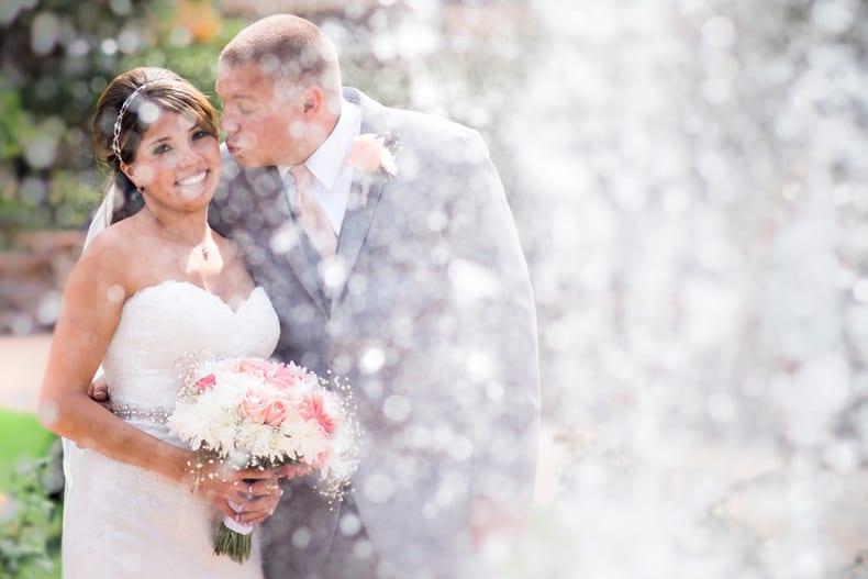 Romantic wedding couple photo at the Rose Garden   Hudson Gardens   Littleton Colorado